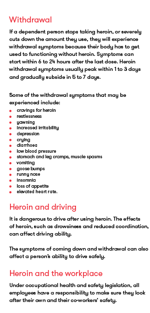 Heroin- how drugs affect you, sample page